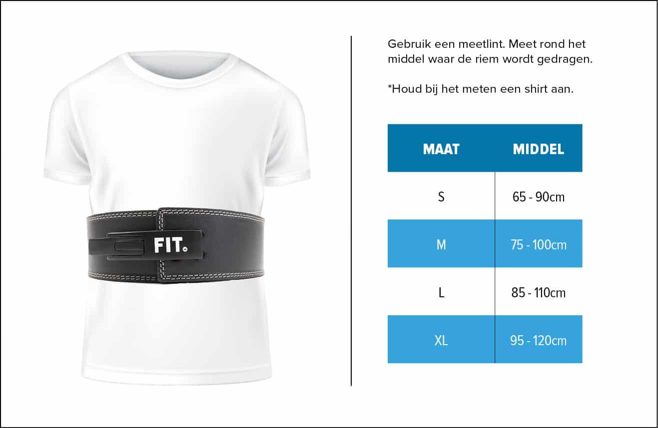 Maattabel fitness riem